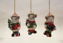 """SET OF 3 HAND PAINTED 3.35"""" RESIN HOLIDAY MICE CHRISTMAS ORNAMENTS - $16.88"""