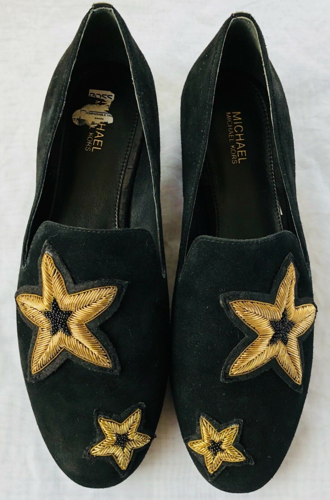 Michael Kors Femmes Chaussures Noir en Cuir Caoutchouc Semelle Broderie Size 6.5