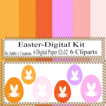 Easter Digital Kit 8i-Digtial Paper-Bunny-Egg-Gift Tag-Jewelry-T shirt-S... - $5.00