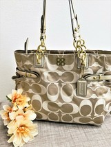 COACH Colette Large Sateen Tote in Khaki/Gold - Style 16435 - EUC - $84.14