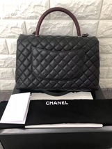 AUTHENTIC CHANEL QUILTED BLACK CAVIAR LARGE COCO PYTHON HANDLE BAG RECEIPT RHW image 2