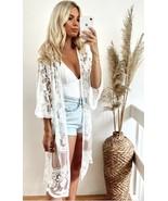 White Mesh Boho Gypsy Swim Cover Up open front cardigan Kimono - $28.71+