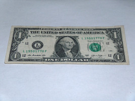 2013 $1 One Dollar Bill 120 Years 15501770 Fancy Serial Number US Bank Note - $13.78