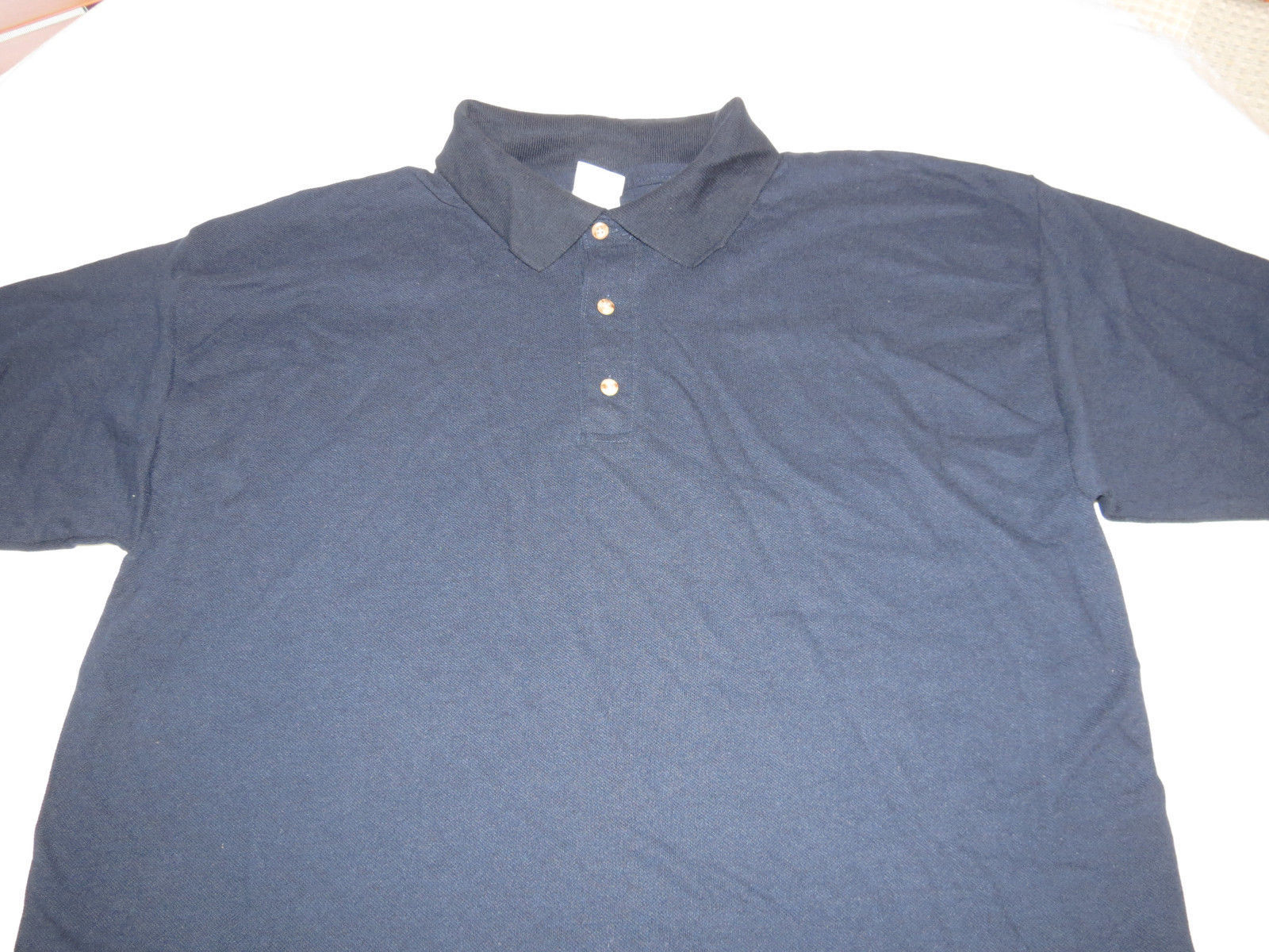 Gildan Activewear Ultrablend Heavyweight adult L large mens Navy polo shirt NOS