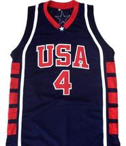 Allen Iverson #4 Team USA Basketball Jersey Navy Blue Any Size image 1