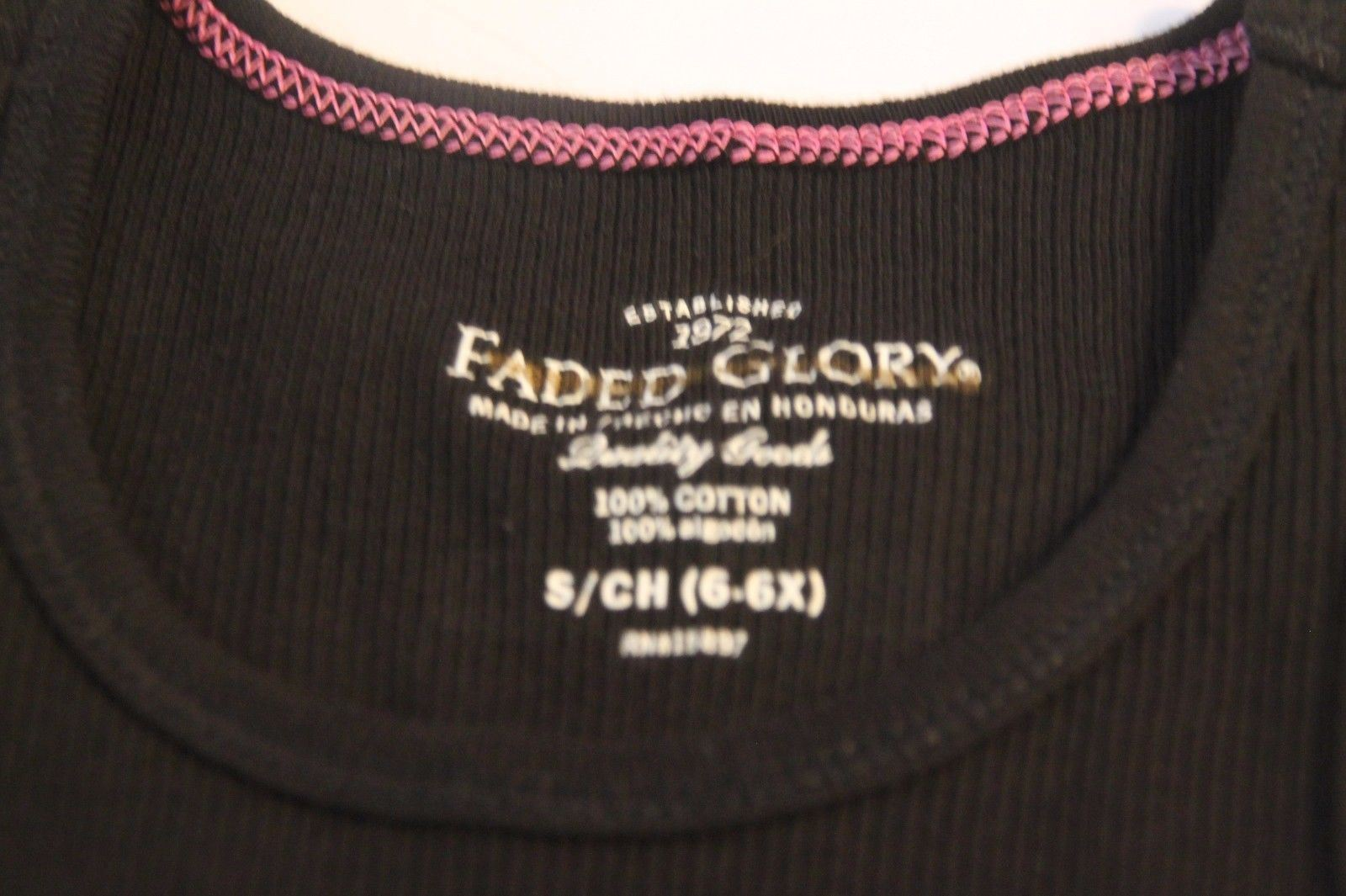 Lot of 3 Faded Glory Girls Black Ribbed Solid Tank Top Shirt Size Medium 7-8