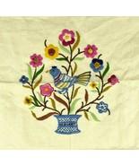 Vtg Hand Sewn Embroidered Linen Fabric Textile Art Craft Floral Bird Gar... - $18.80