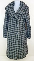 Calvin Klein Houndstooth Double Breasted Gray Wool Blend Long Coat Jacke... - $65.63