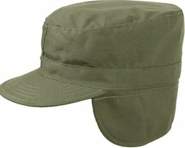 Olive Drab Military Fatigue Patrol Cap with Ear Flaps - $10.99