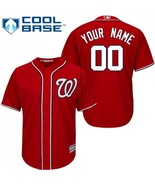 Mens Personalized NAME NUMBER Washington Nationals Red Cool Base Custom ... - $43.99