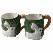 1987 Omnibus Fitz & Floyd Bunny Rabbit Carrot Handle Coffee Mug Cups Set... - $518,12 MXN