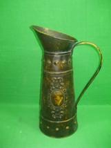 Vintage Shabby Chic Metal Brass Flower Pitcher Vase  - $15.85