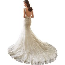 Backless Long Mermaid Lace Wedding Dresses Ivory,Wedding Gown,Bridal Gown  - $199.00