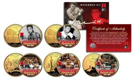 MUHAMMAD ALI * Life & Times * 24K Gold Plated US Statehood Quarter 5-Coi... - $18.65