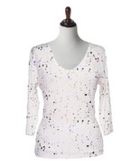 Valentina Signa Embellished 3/4 Sleeve White Top w/ Multi-Color Drops - $42.90