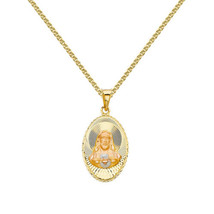 14k Tri-tone Gold Diamond-cut Sacred Heart Jesus Pendant with 1.5-mm Whe... - $213.00+