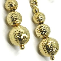 18K YELLOW GOLD PENDANT EARRINGS WORKED SPHERES 5-6-8 MM DIAMOND CUT, FACETED image 2