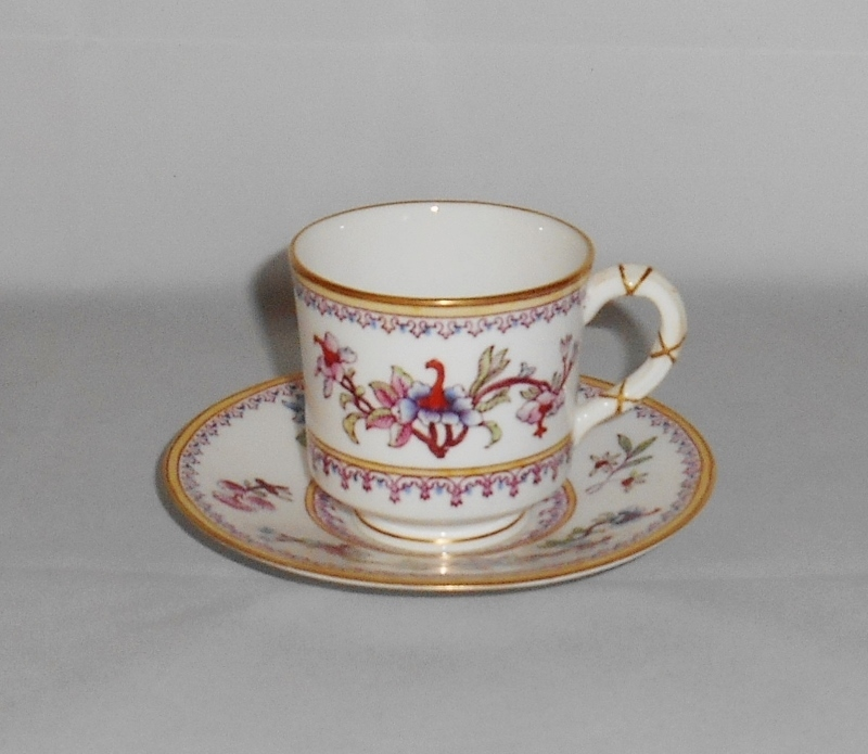 Royal Worcester England Hand Painted China Floral Demitasse Demi Cup & Saucer