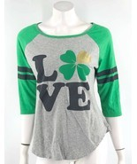 Ultra Flirt Raglan Top XL Green Gray Shamrock Love St Patricks Day Tee J... - $11.88