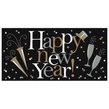 Happy New Year Giant Horizontal Banner Black Silver Gold - $3.79