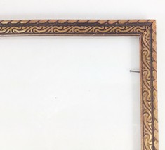 Wood Art Deco Picture Vintage Frame 8.75 x 10.75 Carved Gold Brown w/ Glass - £19.04 GBP
