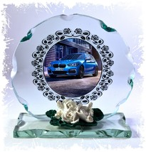BMW Blue Car ' Love My Car ' Series Design Cut Glass Round Plaque Frame ... - $32.07