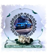 BMW Blue Car ' Love My Car ' Series Design Cut Glass Round Plaque Frame ... - $32.07