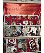 Vintage BUXTON Jewelry Case Box & lots of Jewelry Parts Repair - $75.00