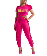 2 Pieces Outfits Short Sleeve Crop Top and High-waisted Pants Ruffle Tra... - $31.99