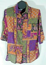 Boomerang Womens Shirt Plus Size 20W/40 Multicolor Padded Shoulders G - $19.95