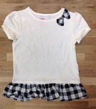 Epic Threads Girls' Short Sleeve Plaid Peplum Top, Holiday Ivory, Size 5 - $10.39