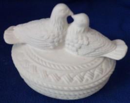 Trinket dish with lid Love Doves Decorative--Ceramic bisque NEW -Vintage - $9.50