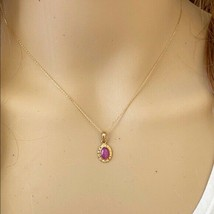 14K Solid Yellow Gold Mini Oval Pink Star Pendant Dainty Necklace Adjus... - $215.00