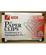 Acco 72380 Small Paper Clips (qty.100) - $5.35
