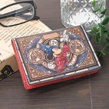 Mickey mouse leather Folded Pass Case Stained glass fantasia Made in Japan FS - $123.75