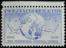 1949 15c Globe & Doves, U.S. Air Mail Scott C43 Mint F/VF NH - $0.99