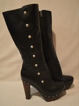 UGG Women s Black Cosima Tall Leather Boots Studded Platform High Heel S... - $98.99