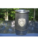 Tankard Beer Real Hide Leather Stein England Black Coat of Arms Ceramic ... - $23.21