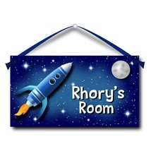 "Kids Door Sign, Rocket to the Moon, 5.5"" x 10.5"", Personalized Name Plaque - $13.00"