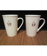 2 STARBUCKS Coffee Company White Tall 12 oz Coffee Mug Cup 2010  - $19.99