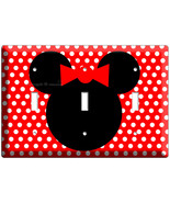 Minnie Mouse red polka dots triple light switch cover plate children room - $18.99