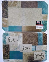 PLASTIC PLACEMATS Set of 4 Faith Love Family Beige Blue Reversible Place... - $14.99