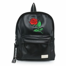 Rose Flower PU Leather Backpack Black Women Girls Vintage Black Teen Sch... - $43.26