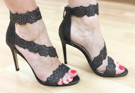 Jessica Simpson Geela Black/Gunmetal Stiletto Dress Embellished Open Toe Sandals - $65.40