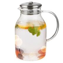 Hiware 68 Ounces Glass Pitcher with Lid and Spout, Heat Resistance Water... - $14.54