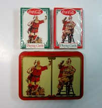 2 Decks 1994 Coke Coca-Cola Santa Claus Playing Cards in Collectible Tin  - $6.99