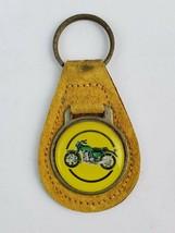 Vintage Motorcycle drawing leather keychain keyring FOB metal back logo ... - €18,63 EUR