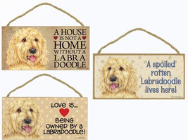 "Labradoodle Blonde Dog Sign Plaque 10""x5"" House not Home Spoiled Love  - $10.95"