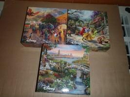 Lot of 3 Thomas Kinkade 750 piece Disney Puzzles Snow White Dumbo 101 Dalmations - $37.39