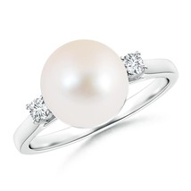9mm Freshwater Cultured Pearl Diamond Ring Silver/ 14K Gold Size 3-13 - $397.45+